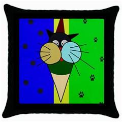 Ice cream cat Throw Pillow Case (Black)