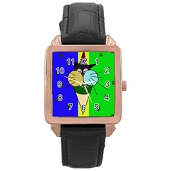 Ice cream cat Rose Gold Leather Watch