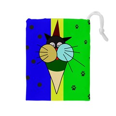 Ice cream cat Drawstring Pouches (Large)