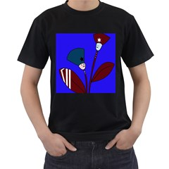 Soldier flowers  Men s T-Shirt (Black) (Two Sided)
