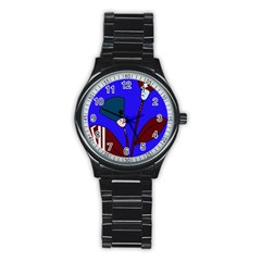 Soldier flowers  Stainless Steel Round Watch