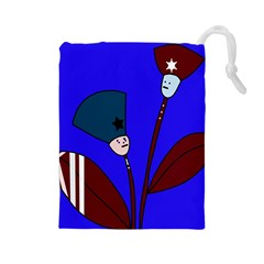 Soldier flowers  Drawstring Pouches (Large)