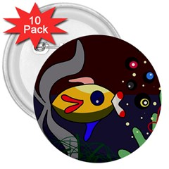 Fish 3  Buttons (10 pack)