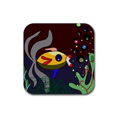 Fish Rubber Square Coaster (4 pack)