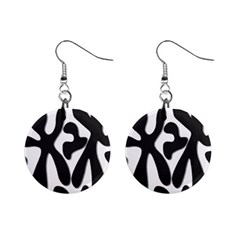 Black and white dance Mini Button Earrings