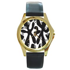 Black and white dance Round Gold Metal Watch
