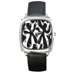 Black and white dance Square Metal Watch