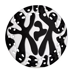Black and white dance Round Filigree Ornament (2Side)