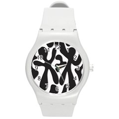 Black and white dance Round Plastic Sport Watch (M)