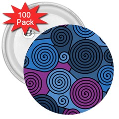 Blue hypnoses 3  Buttons (100 pack)