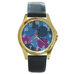 Blue hypnoses Round Gold Metal Watch