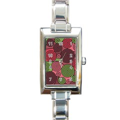 Red and green hypnoses Rectangle Italian Charm Watch