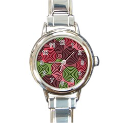 Red and green hypnoses Round Italian Charm Watch