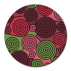 Red and green hypnoses Round Mousepads