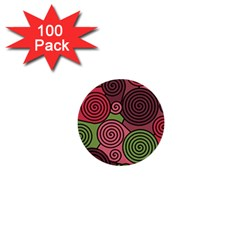 Red and green hypnoses 1  Mini Buttons (100 pack)