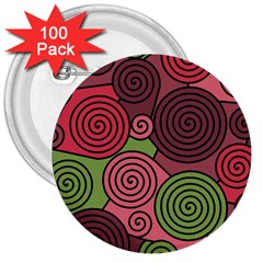 Red and green hypnoses 3  Buttons (100 pack)