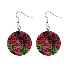 Red and green hypnoses Mini Button Earrings
