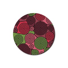 Red and green hypnoses Rubber Coaster (Round)