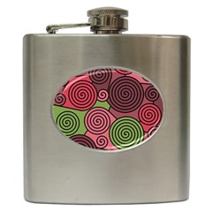 Red and green hypnoses Hip Flask (6 oz)