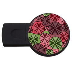 Red and green hypnoses USB Flash Drive Round (1 GB)