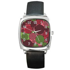 Red And Green Hypnoses Square Metal Watch