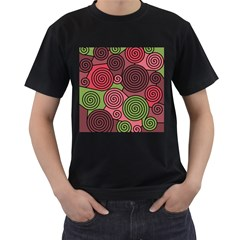 Red and green hypnoses Men s T-Shirt (Black) (Two Sided)