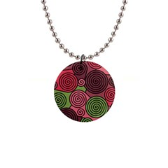 Red And Green Hypnoses Button Necklaces