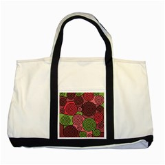 Red and green hypnoses Two Tone Tote Bag