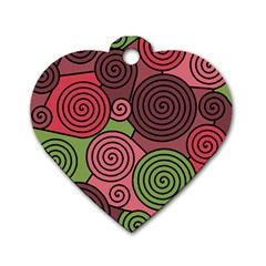 Red and green hypnoses Dog Tag Heart (Two Sides)