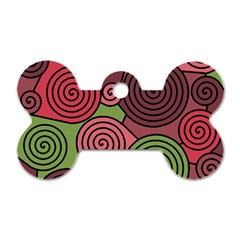 Red and green hypnoses Dog Tag Bone (One Side)