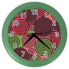 Red and green hypnoses Color Wall Clocks