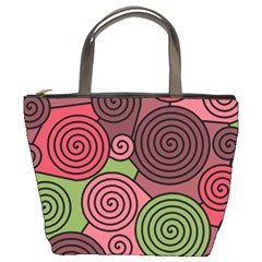 Red and green hypnoses Bucket Bags