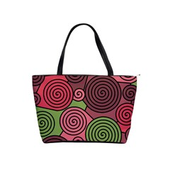 Red and green hypnoses Shoulder Handbags