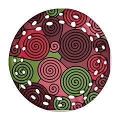 Red and green hypnoses Ornament (Round Filigree)