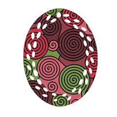 Red and green hypnoses Ornament (Oval Filigree)