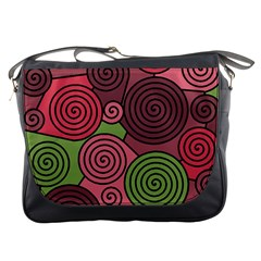 Red and green hypnoses Messenger Bags