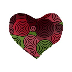 Red and green hypnoses Standard 16  Premium Heart Shape Cushions