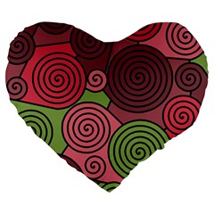Red and green hypnoses Large 19  Premium Heart Shape Cushions