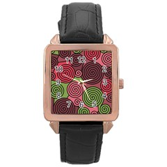 Red and green hypnoses Rose Gold Leather Watch