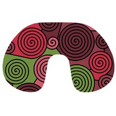 Red and green hypnoses Travel Neck Pillows