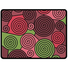 Red and green hypnoses Double Sided Fleece Blanket (Large)
