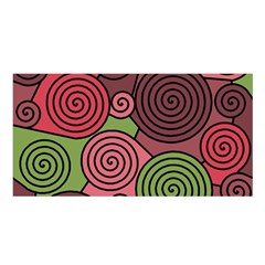 Red and green hypnoses Satin Shawl