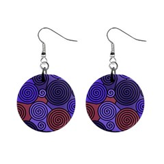 Blue and red hypnoses  Mini Button Earrings