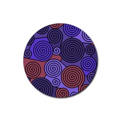 Blue and red hypnoses  Rubber Round Coaster (4 pack)