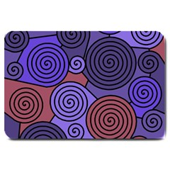 Blue and red hypnoses  Large Doormat