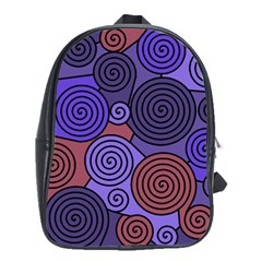 Blue and red hypnoses  School Bags(Large)