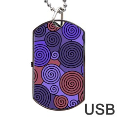 Blue and red hypnoses  Dog Tag USB Flash (Two Sides)