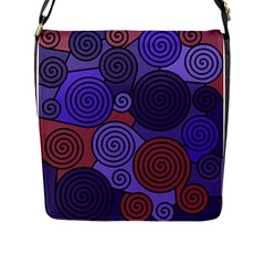 Blue and red hypnoses  Flap Messenger Bag (L)
