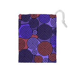 Blue and red hypnoses  Drawstring Pouches (Medium)