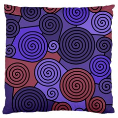 Blue and red hypnoses  Large Flano Cushion Case (Two Sides)
